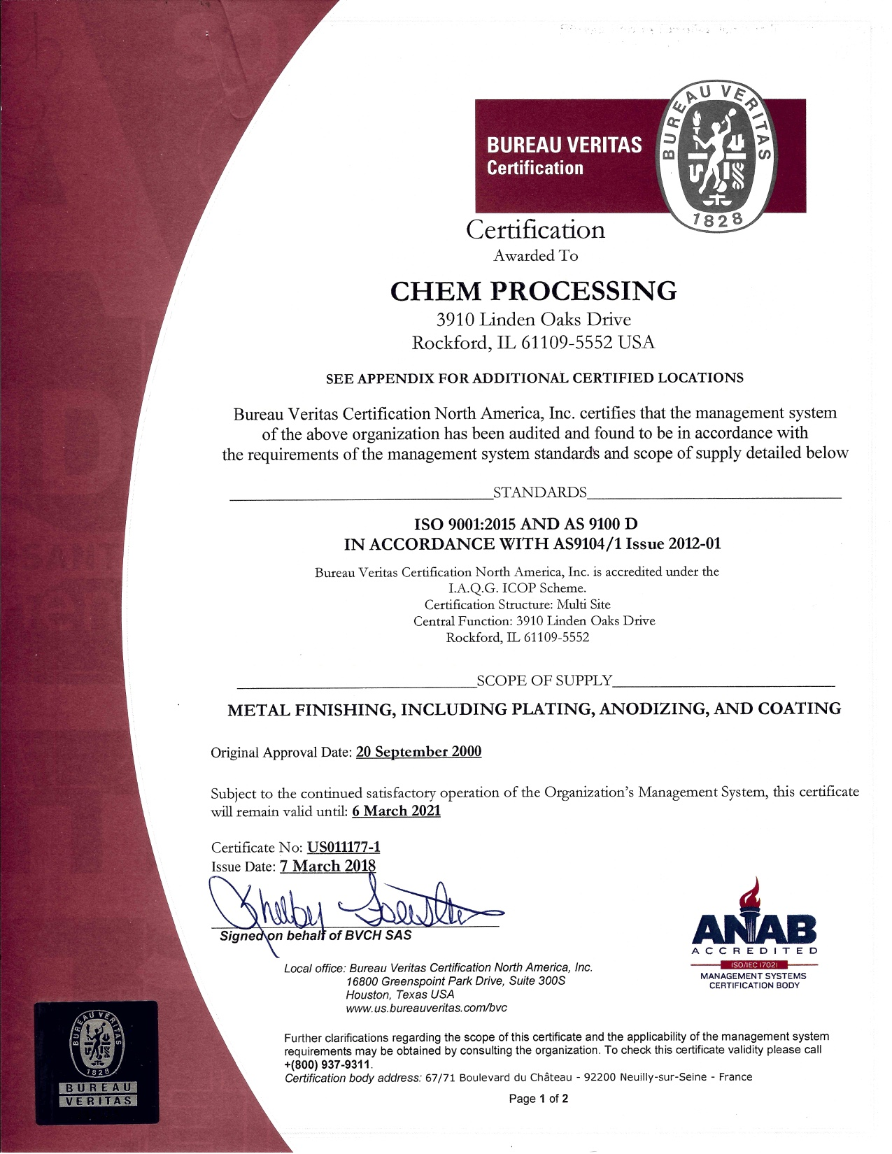 Chem Processing ISO 9001